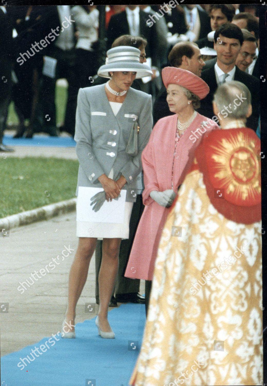 Queen Elizabeth Ii Princess Diana Pictured Arriving Editorial