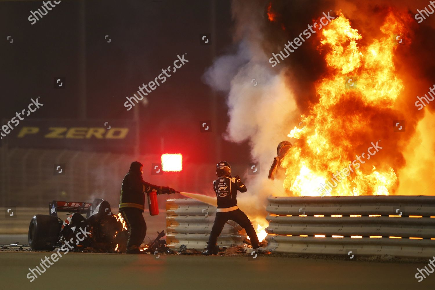 Romain Grosjean Haas F1 emerges flames after Editorial Stock Photo - Stock  Image | Shutterstock