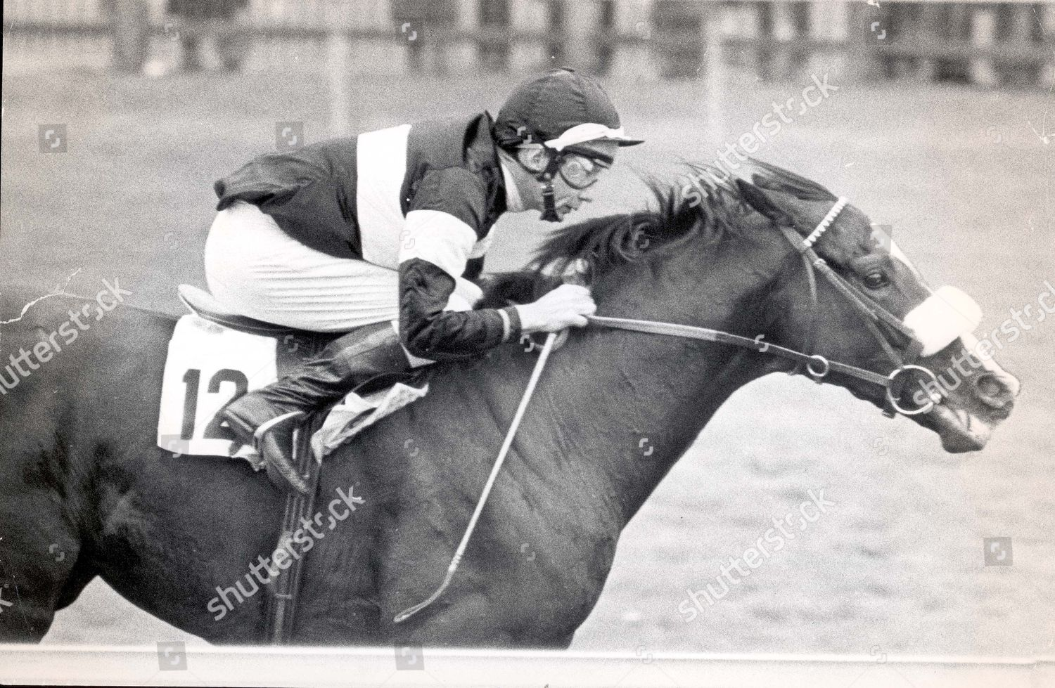 Stock photo of Lester Piggott Jockeys 1974 The Master At Work Lester Piggott Driving Relry Race Home At Newmarket. Relry Race Was The Horse That Led To Break Up Between Henry Cecil And Greville Starkey...jockeys