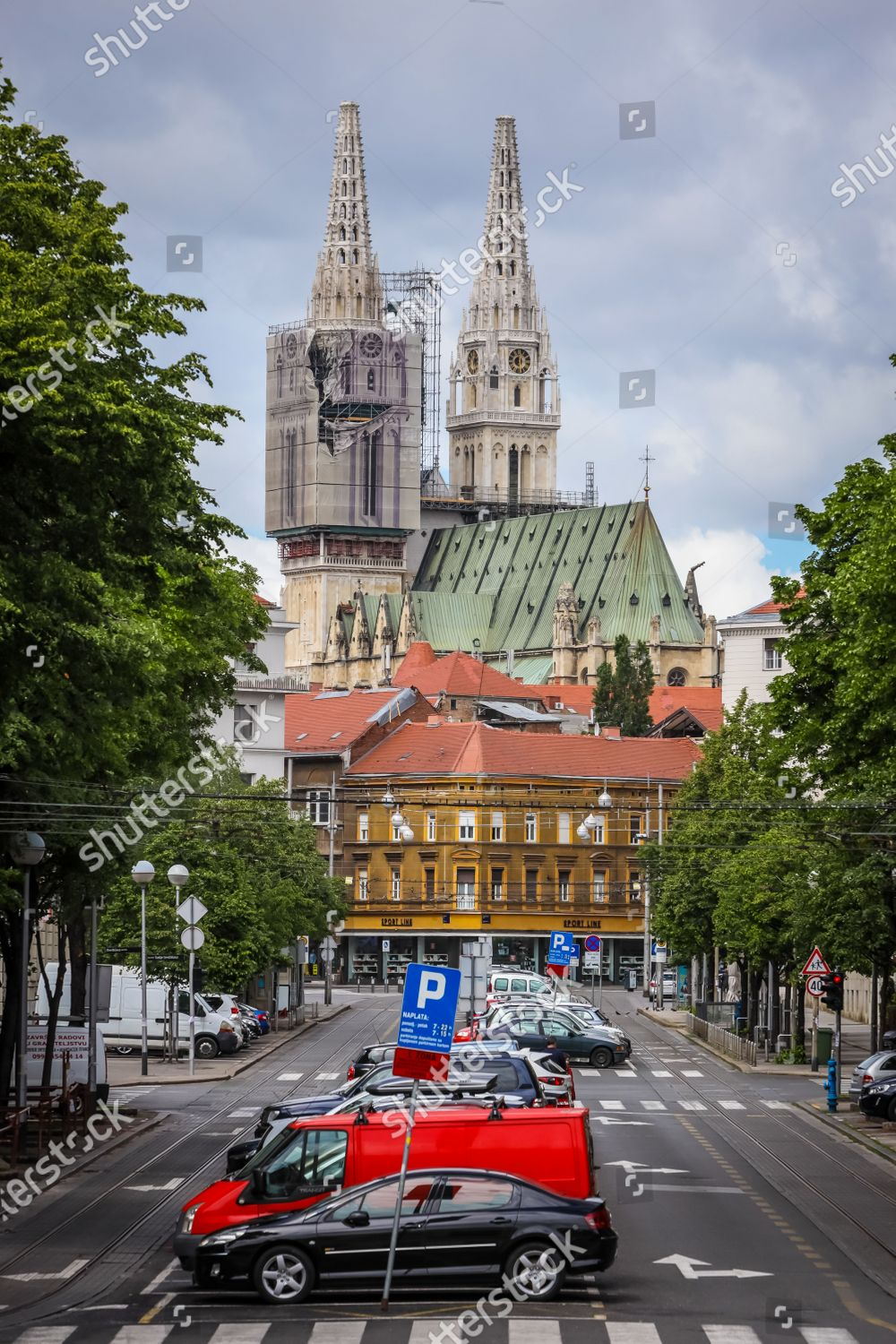 Zagreb Cathedral Without Both Crosses On Top Editorial Stock Photo Stock Image Shutterstock