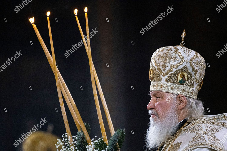 Russian Christmas 2021 Russian Orthodox Patriarch Kirill Serves Christmas Mass Editorial Stock Photo Stock Image Shutterstock