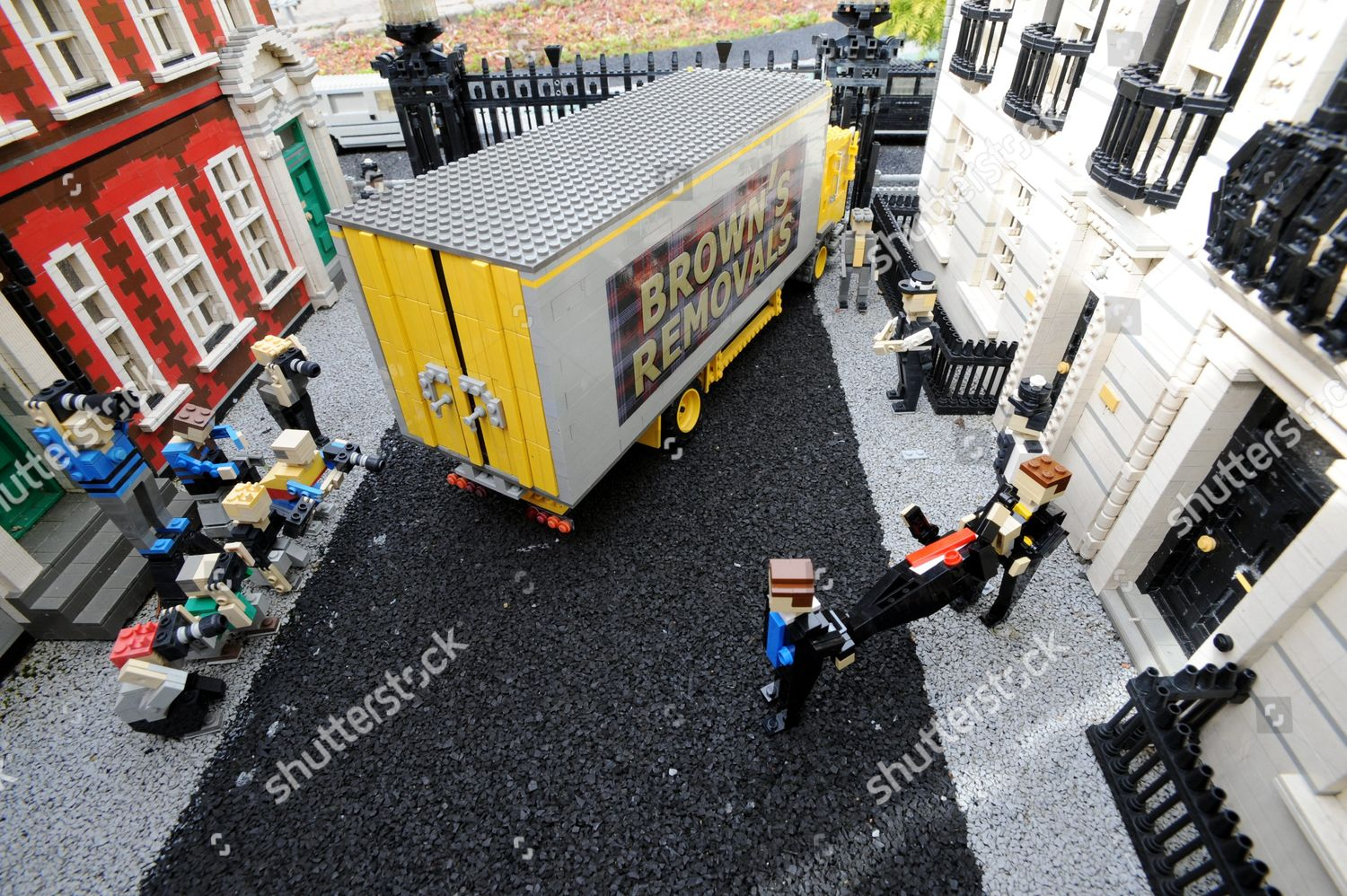 Lego model Gordon Brown being removed No Editorial Stock