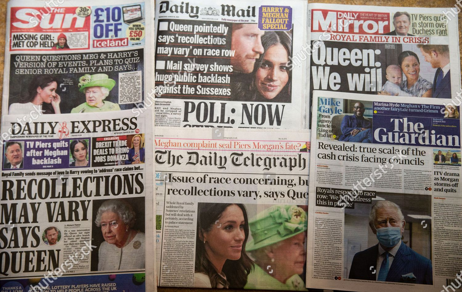 Stock photo of Newspapers reaction to Oprah Winfrey interview., Holborn, London, UK - 10 Mar 2021