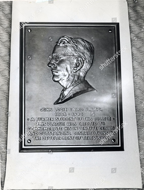 john logie baird plaque royal technical college editorial stock