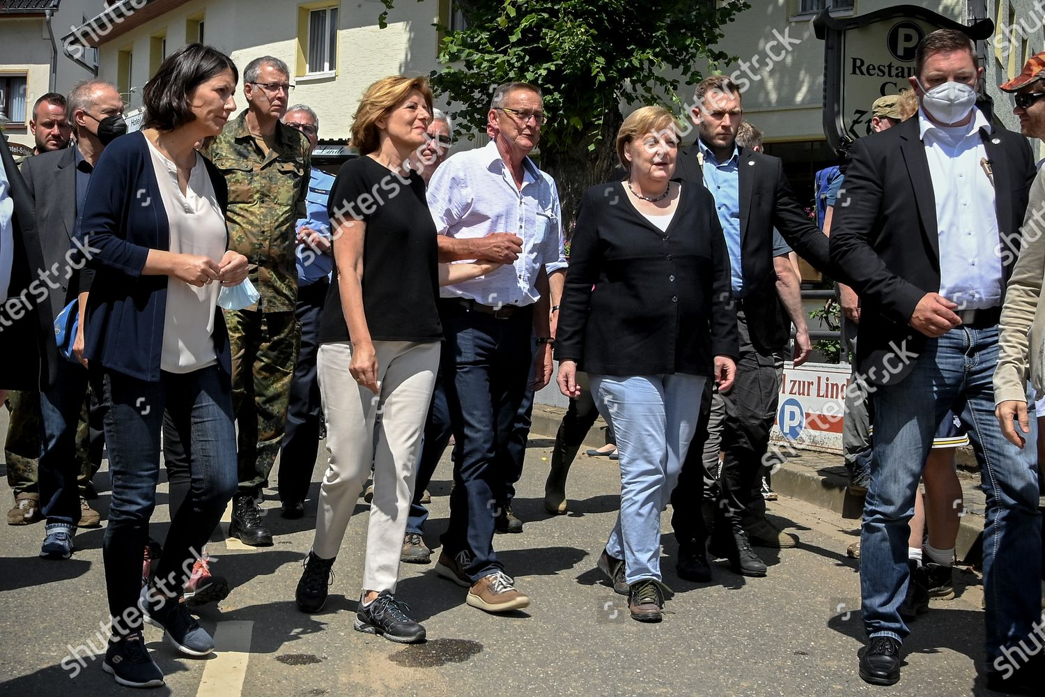 Stock photo of German Chancellor Merkel visits flood affected areas, Schuld, Germany - 18 Jul 2021