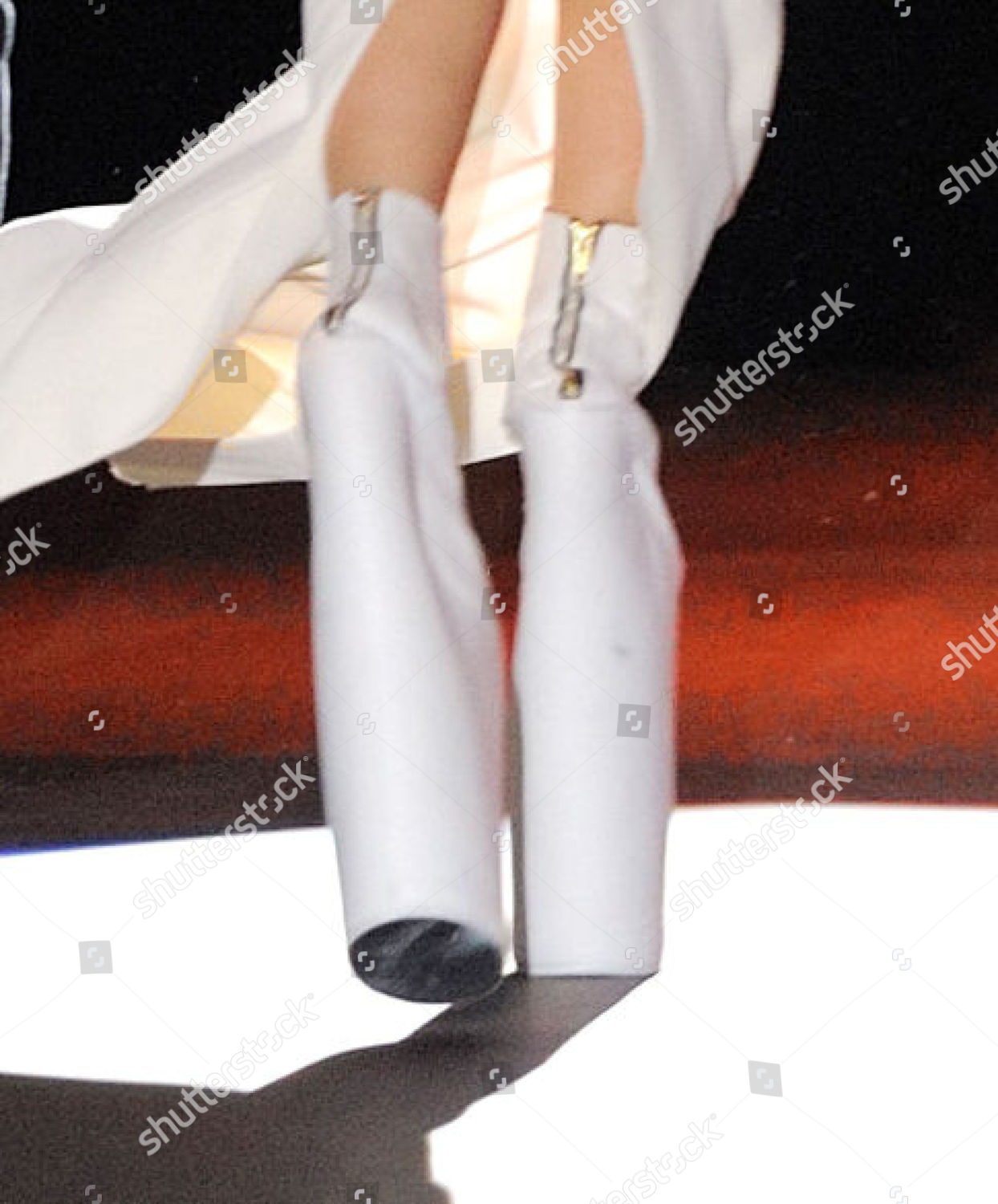 Lady Gagas shoes on catwalk Editorial