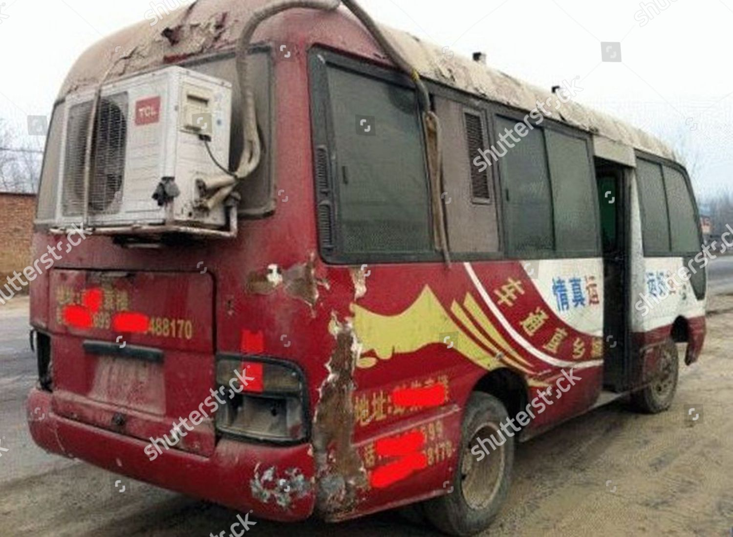 air conditioner on back battered bus Editorial Stock Photo - Stock