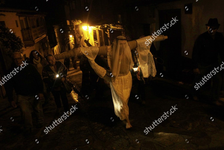 Man Dressed Empalao Kneels Front Cross Village Editorial Stock Photo