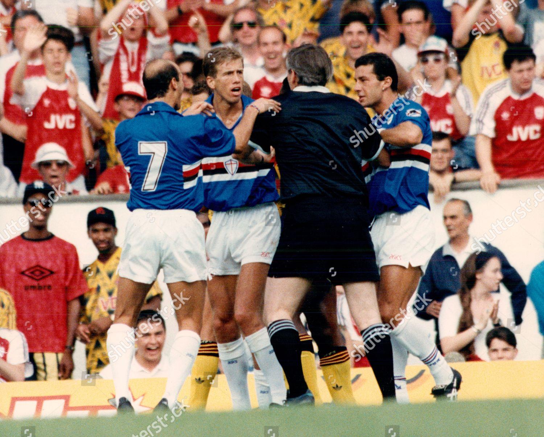 7dee3b6d15c190 Football Makita Football Tournament Match 1991: Arsenal V Sampdoria Referee  Keith Hackett Sending Off Sampdoria