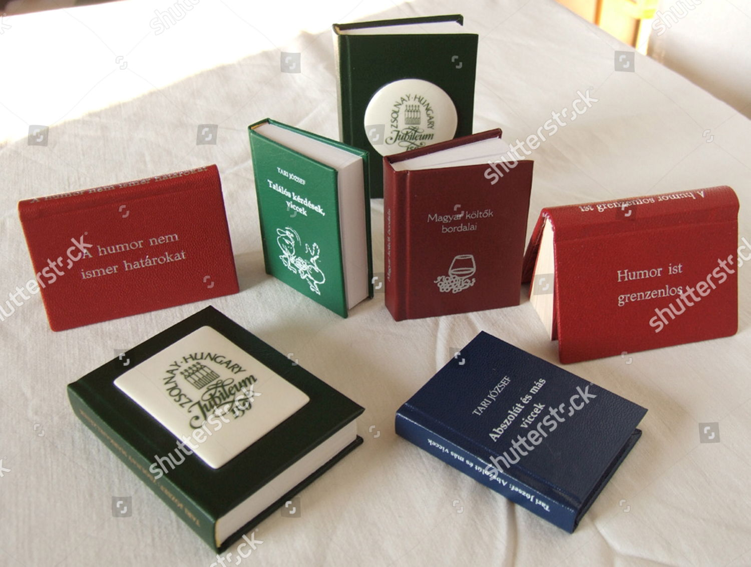 Some Jozsefs miniature book collection Editorial Stock Photo