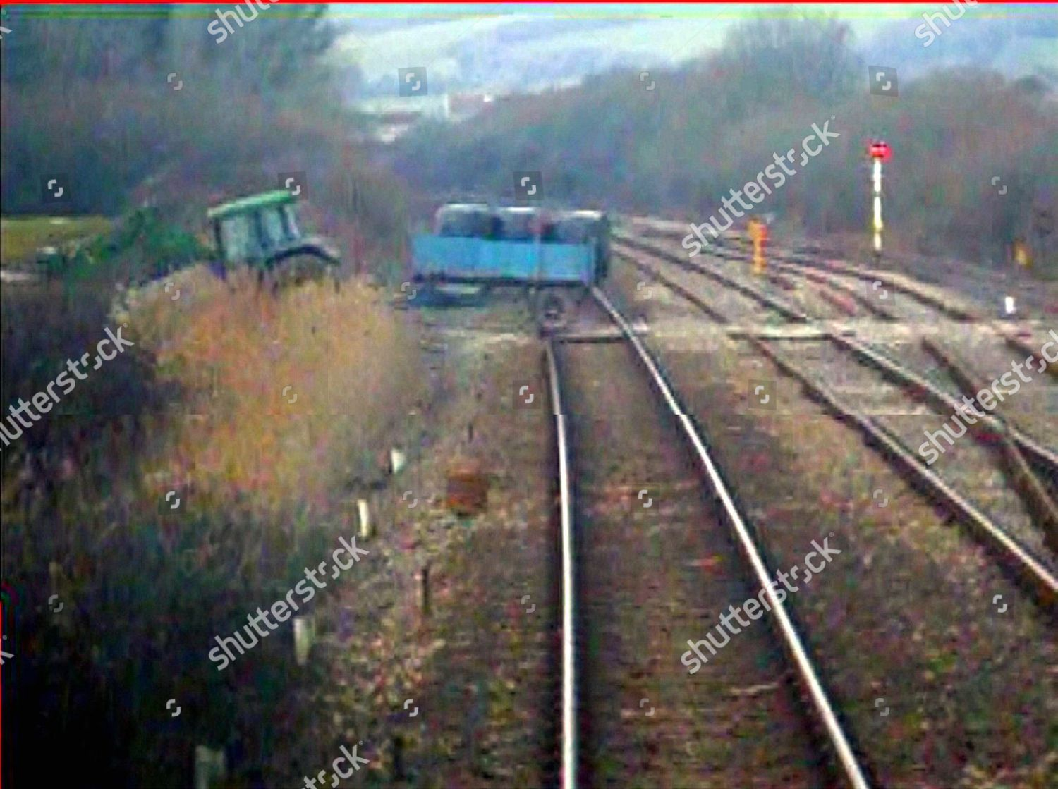 Video grab showing train drivers view moments Editorial