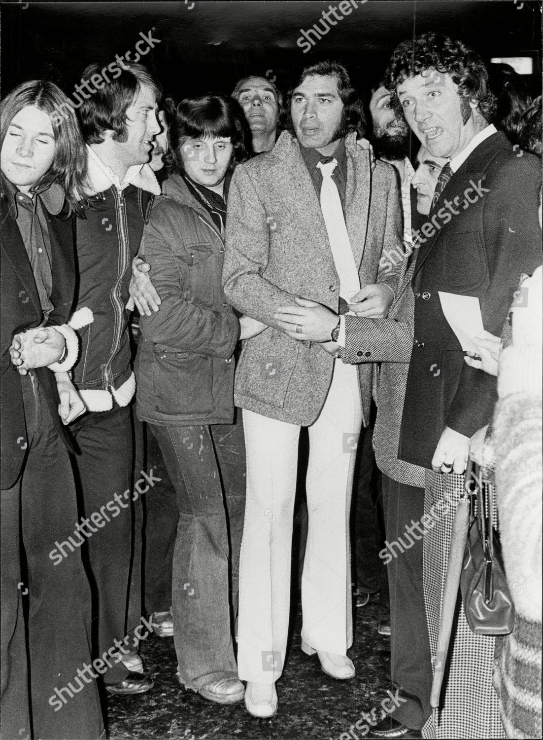 Stock photo of Engelbert Humperdinck Singer Outside The London Palladium After A Bomb Scare Hoax Which Cancelled Sunday Night At The London Palladium
