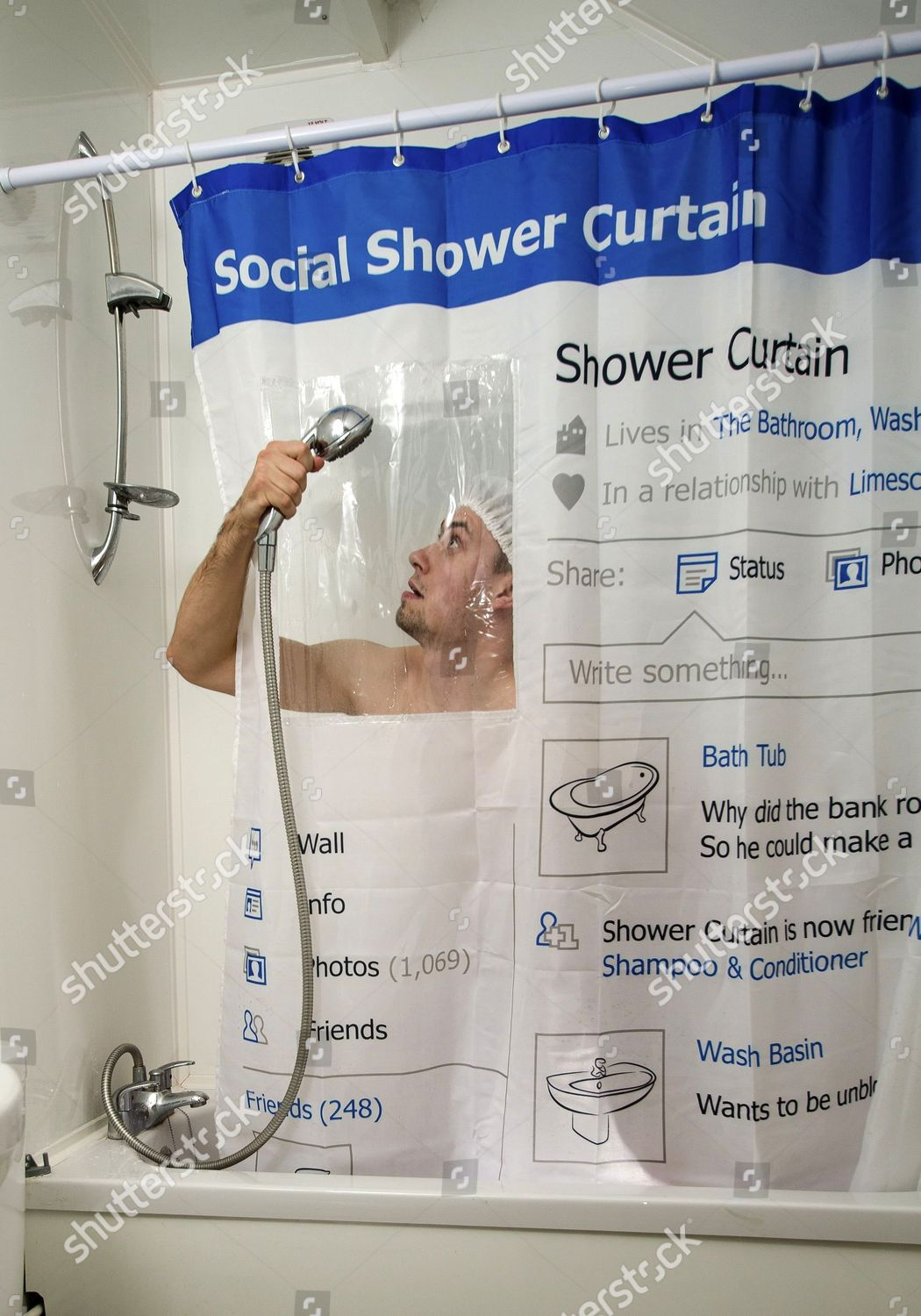 Social Shower Courtain.Social Shower Curtain Use Editorial Stock Photo Stock