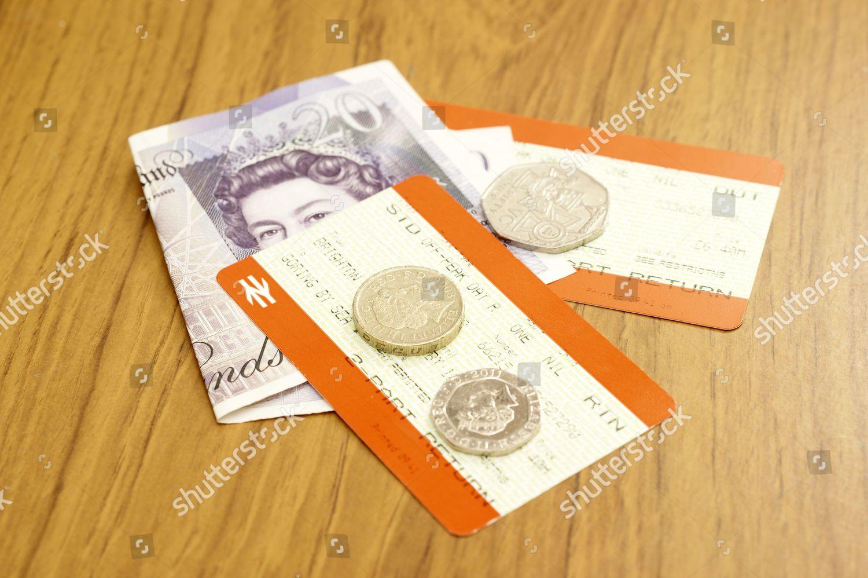 Railway train tickets money Libby Welch LMW Editorial Stock Photo