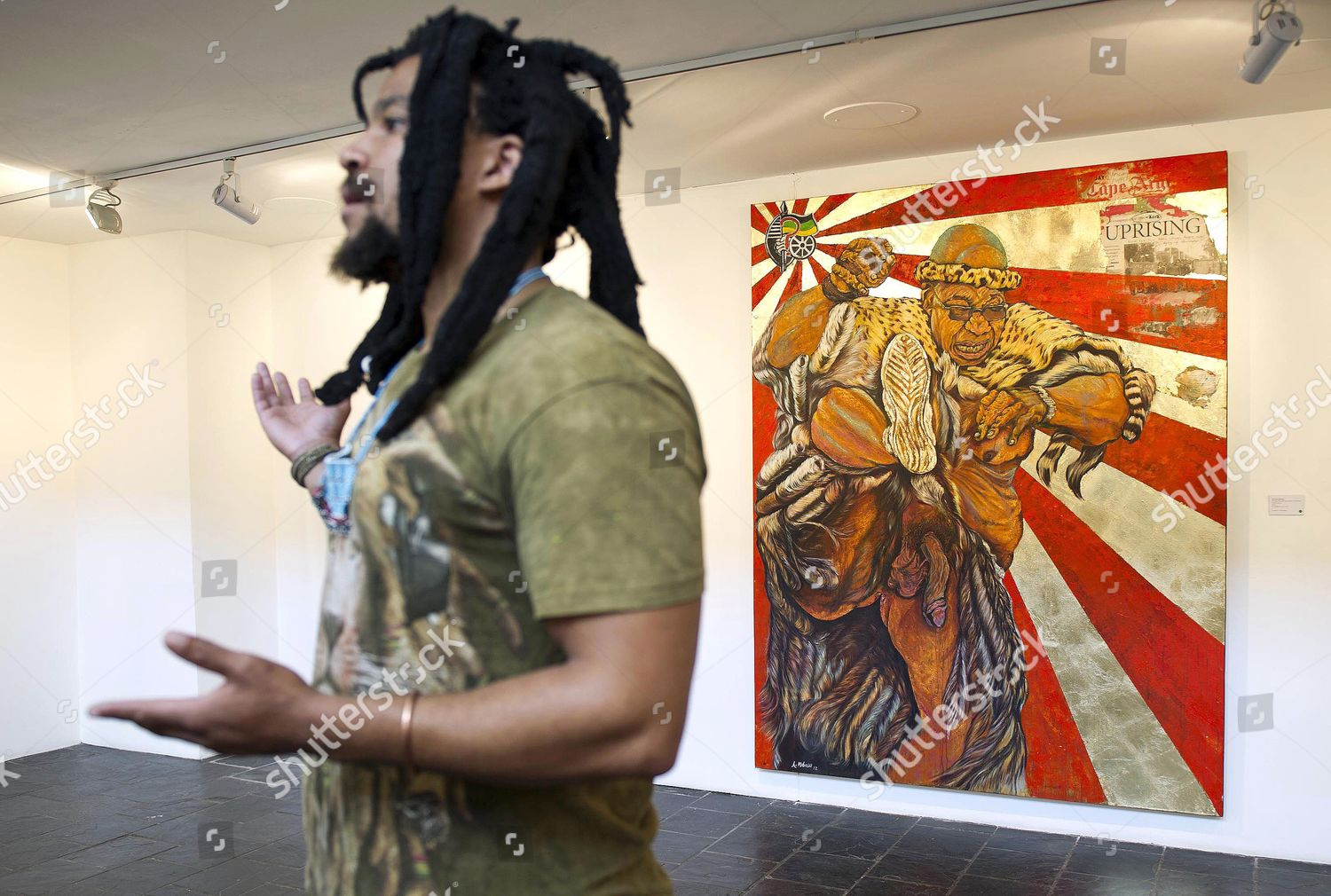 Weapon of Mass Destruction  painting of Jacob Zuma as Zulu warrior with  his genitals exposed, Cape Town, South Africa Stock Image by Gallo Images  for ... 0731093cd4f7