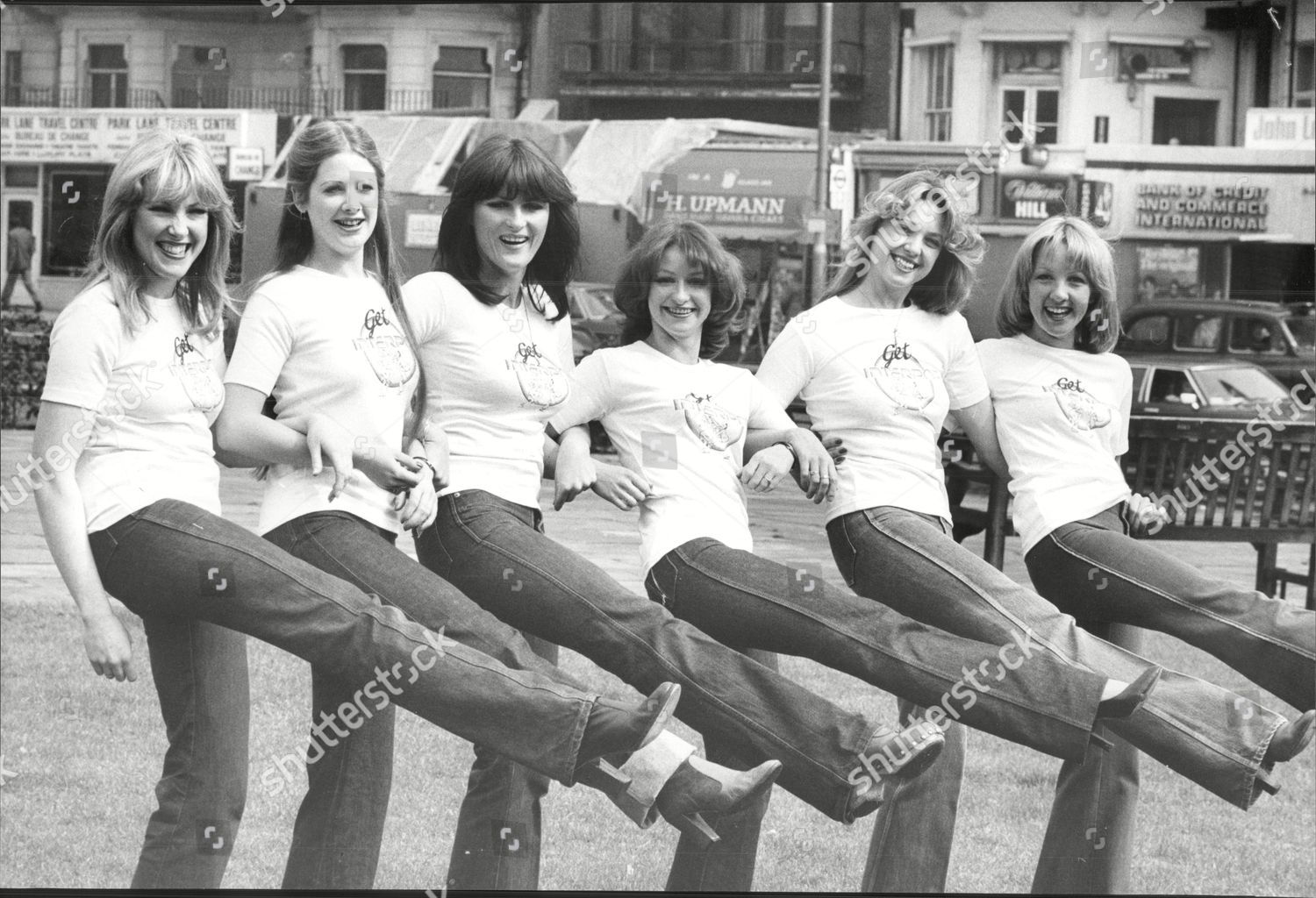 Stock photo of Third Edition Dance Troup L To R Dee Smith (26) Wendy Young (24) Ali Mintoe(26) Roslyn Cole (25) Julie Dean (24) And Lynda Johns (25).