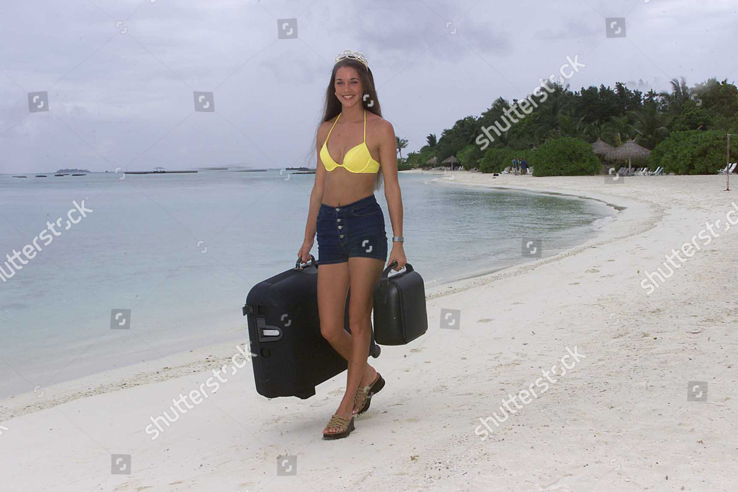 Stock photo of Miss England Michelle Walker (19) In The Maldives For The Miss World Filming (with Her Luggage Allowance). The Contestants Are In The Maldives For The Beachwear Section Of The 50th Anniversary Miss World Contest Which Will Be Held At The Millennium D
