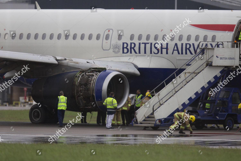 Emergency services ground crew surround British Airways