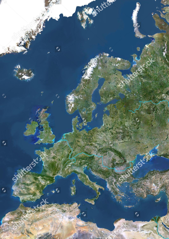 Image of: Europe Major Rivers True Colour Satellite Image Foto Editorial En Stock Imagen En Stock Shutterstock