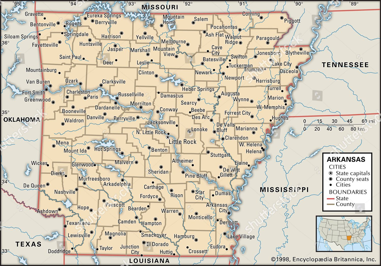 Political map Arkansas Editorial Stock Photo - Stock Image ...
