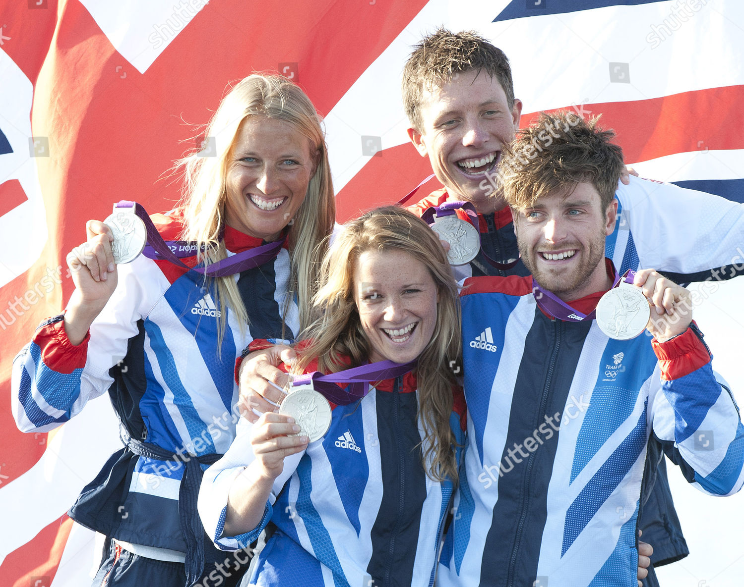 b0ac2698bb3c Saskia Clark Hannah Mills Stuart Bithell And Luke Patience With Their Silver  Medals After Coming Second
