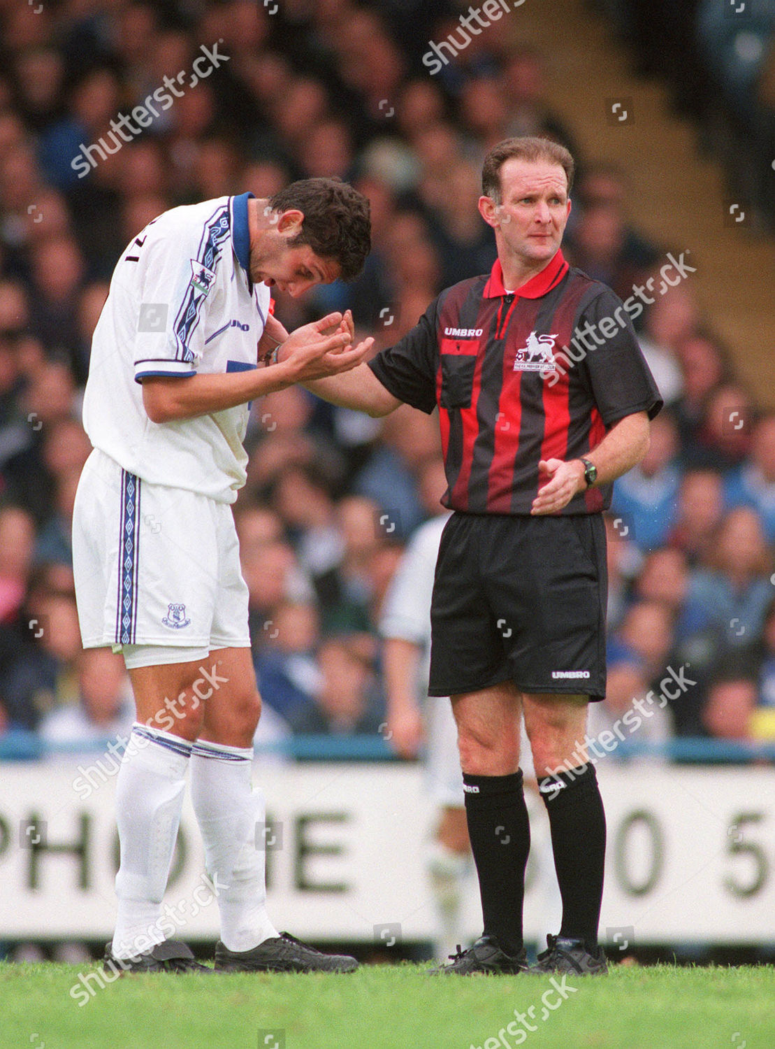 Referee Paul Alcock checks that Marco Materazzi Editorial Stock