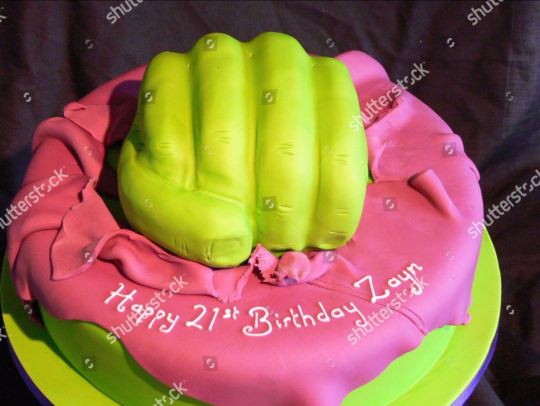 Fantastic Incredible Hulk Themed Birthday Cake Zayn Malik Editorial Stock Personalised Birthday Cards Veneteletsinfo