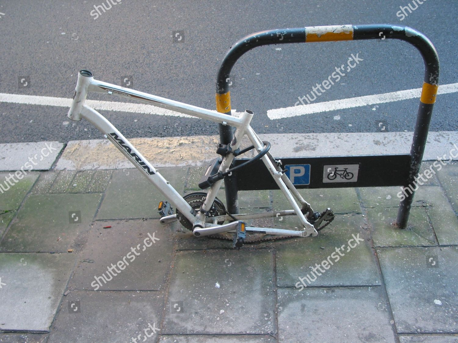 Bicycle Locked Bike Stand Stripped Parts By Editorial Stock Photo