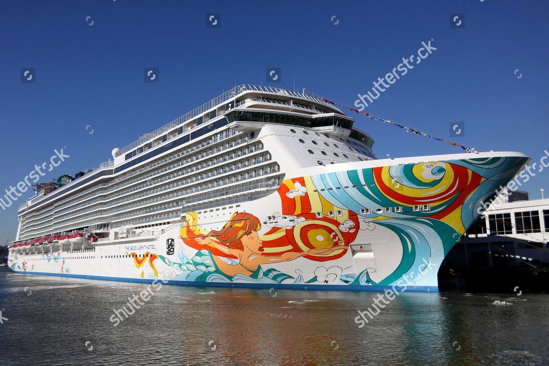 New Norwegian Getaway ship docking floating hotel Editorial