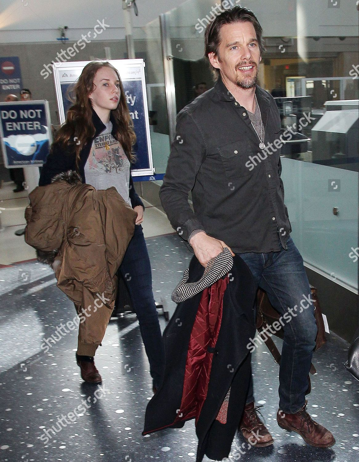 Stock photo of Ethan Hawke at the Los Angeles International Airport, America - 09 Feb 2014