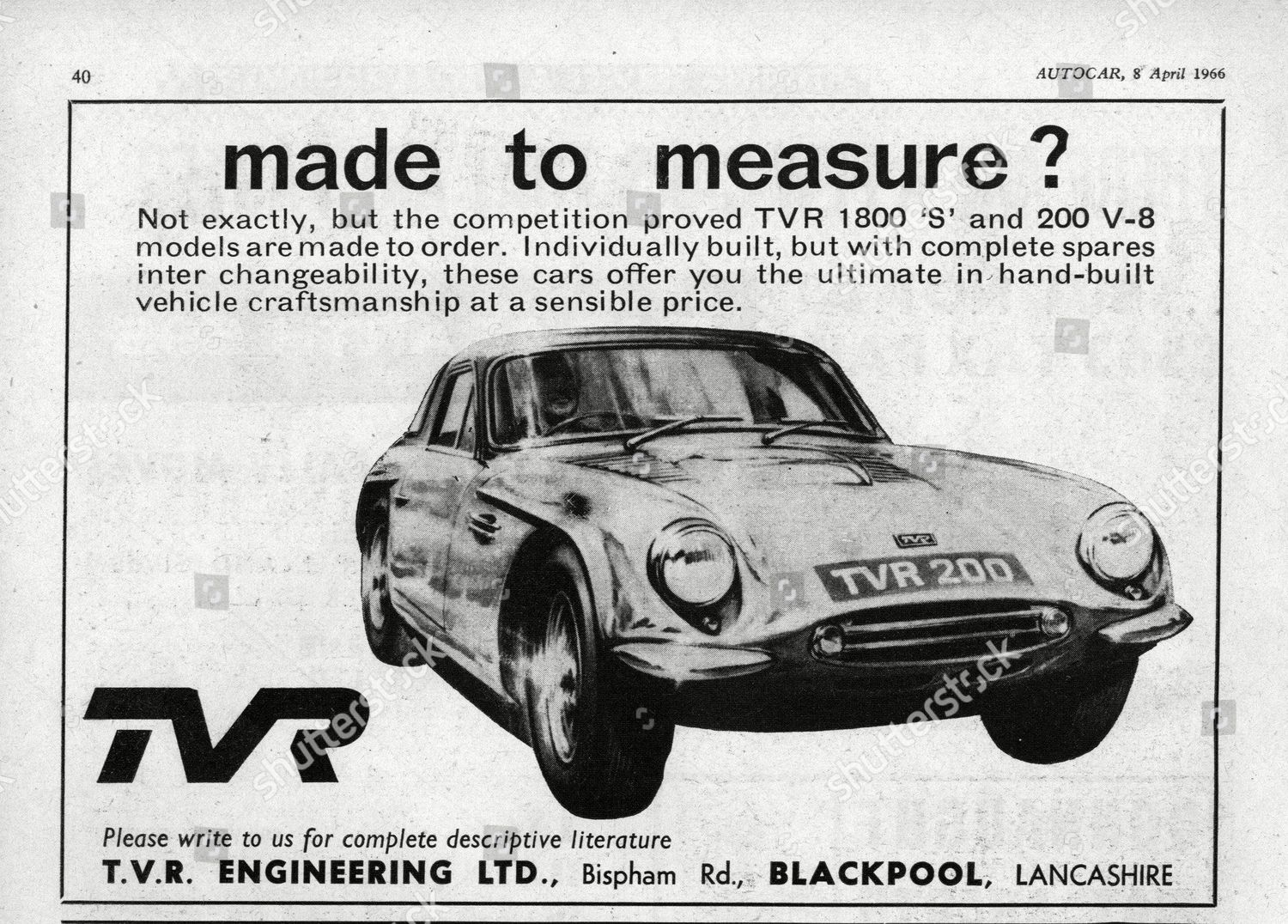 1966 TVR 1800 S Editorial Stock Photo - Stock Image | Shutterstock