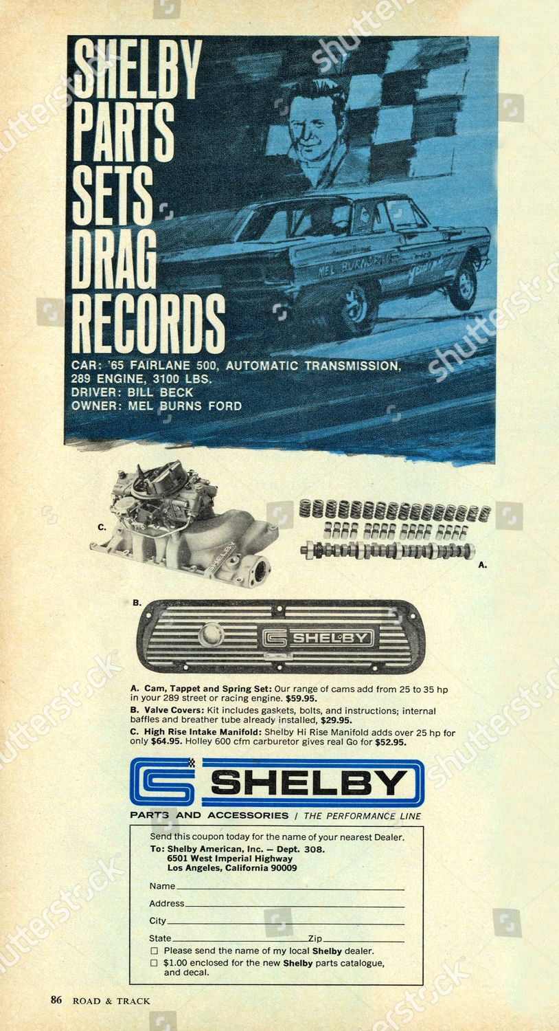 1965 Ford Fairlane Shelby Parts Accessories Editorial Stock
