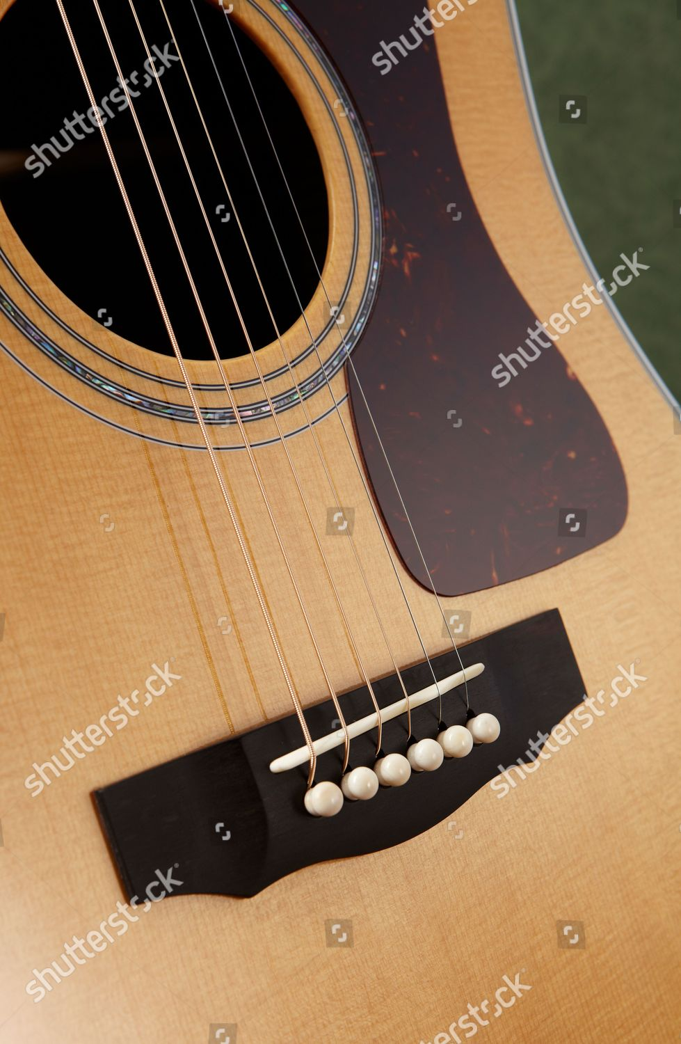Detail Bridge On Guild D55 Acoustic Guitar Editorial Stock