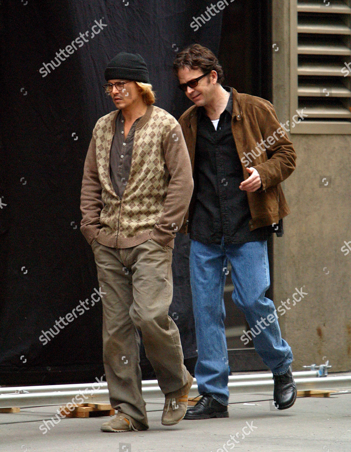 Johnny Depp Timothy Hutton Filming Thriller Based Editorial Stock