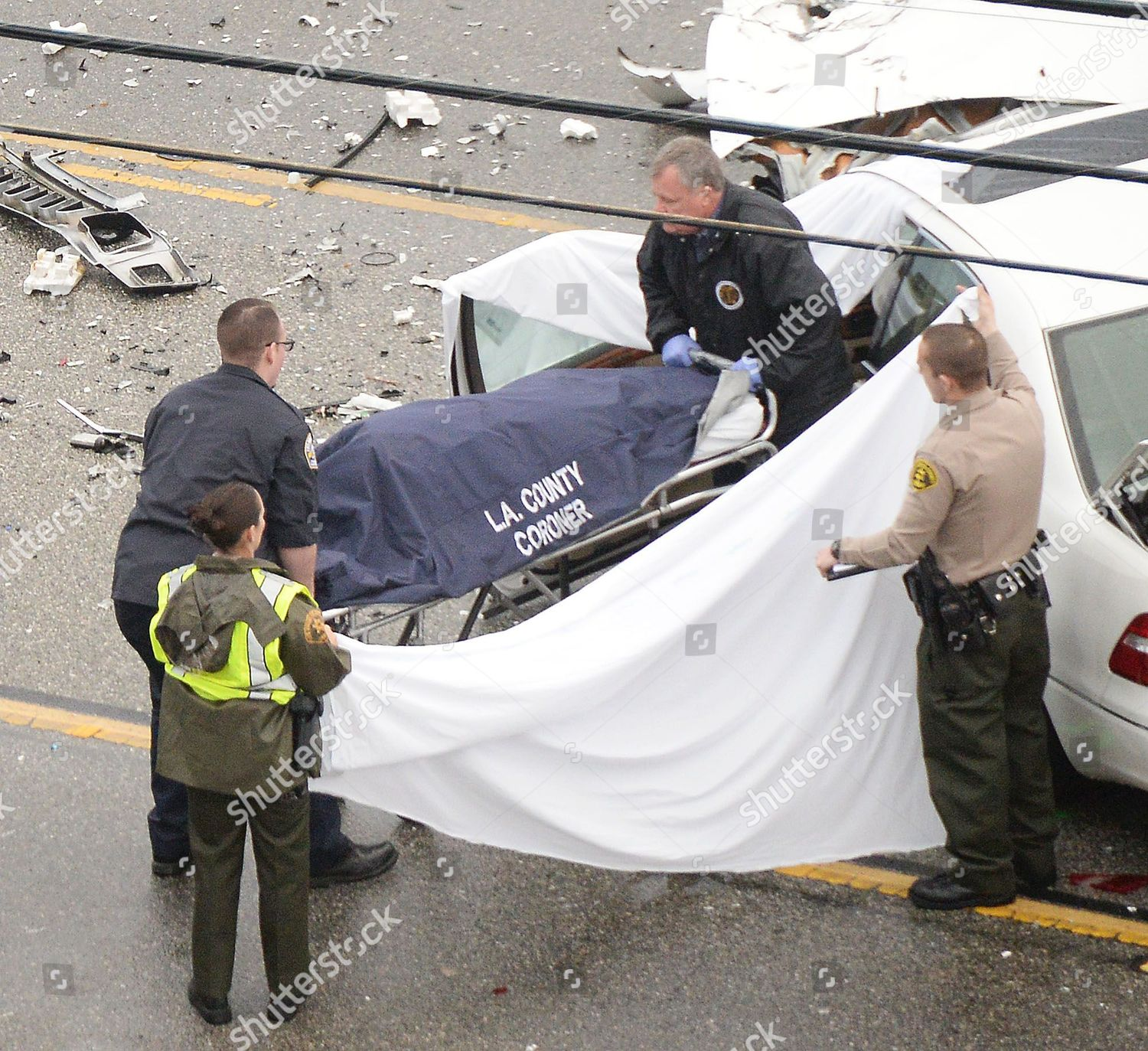 Bruce Jenner Car Accident Editorial Stock Photo - Stock Image