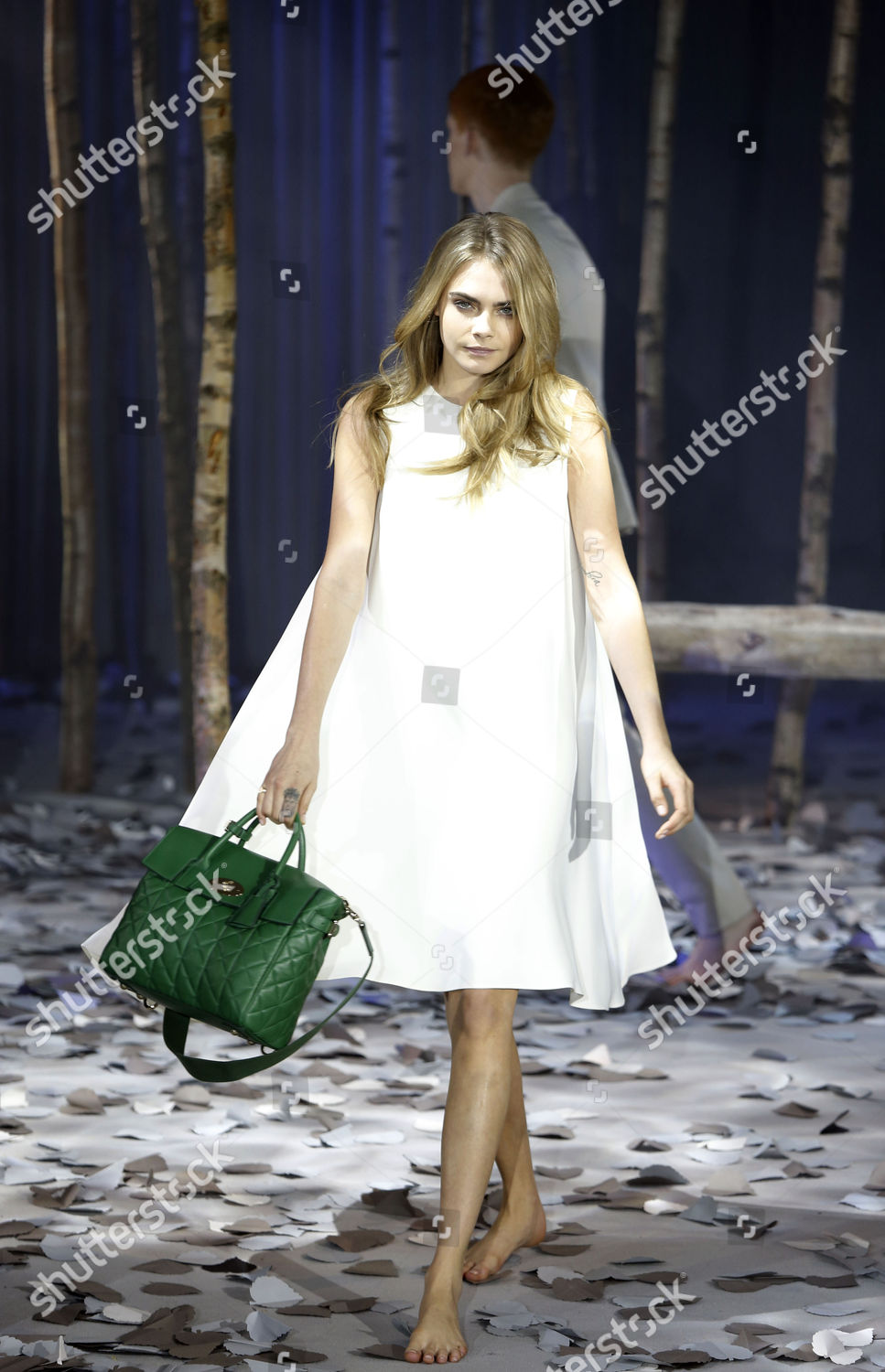 9807b1c99be4 Cara Delevigne Models For Mulberry Autumn winter 2014 15 Collection At  London Fashion Week