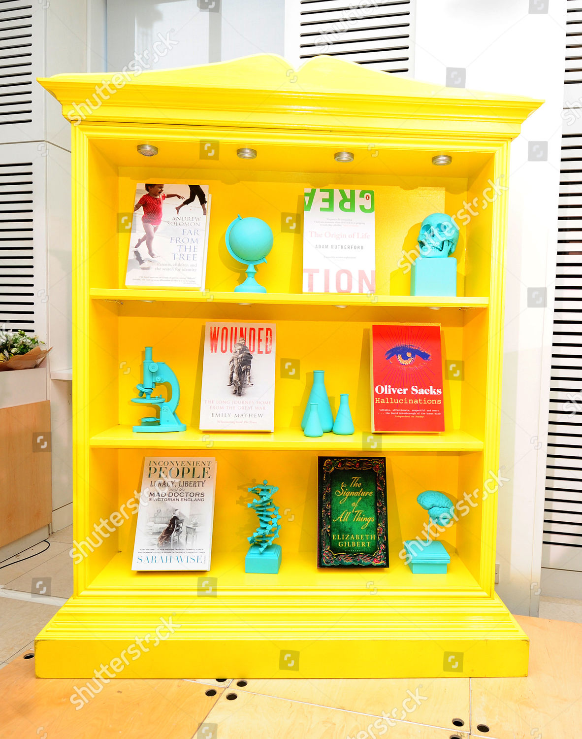 Bookcase Showing Off 6 Shortlisted Books 6 Editorial Stock