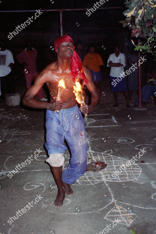Voodoo priest exorcising devil Haiti West Indies Editorial Stock