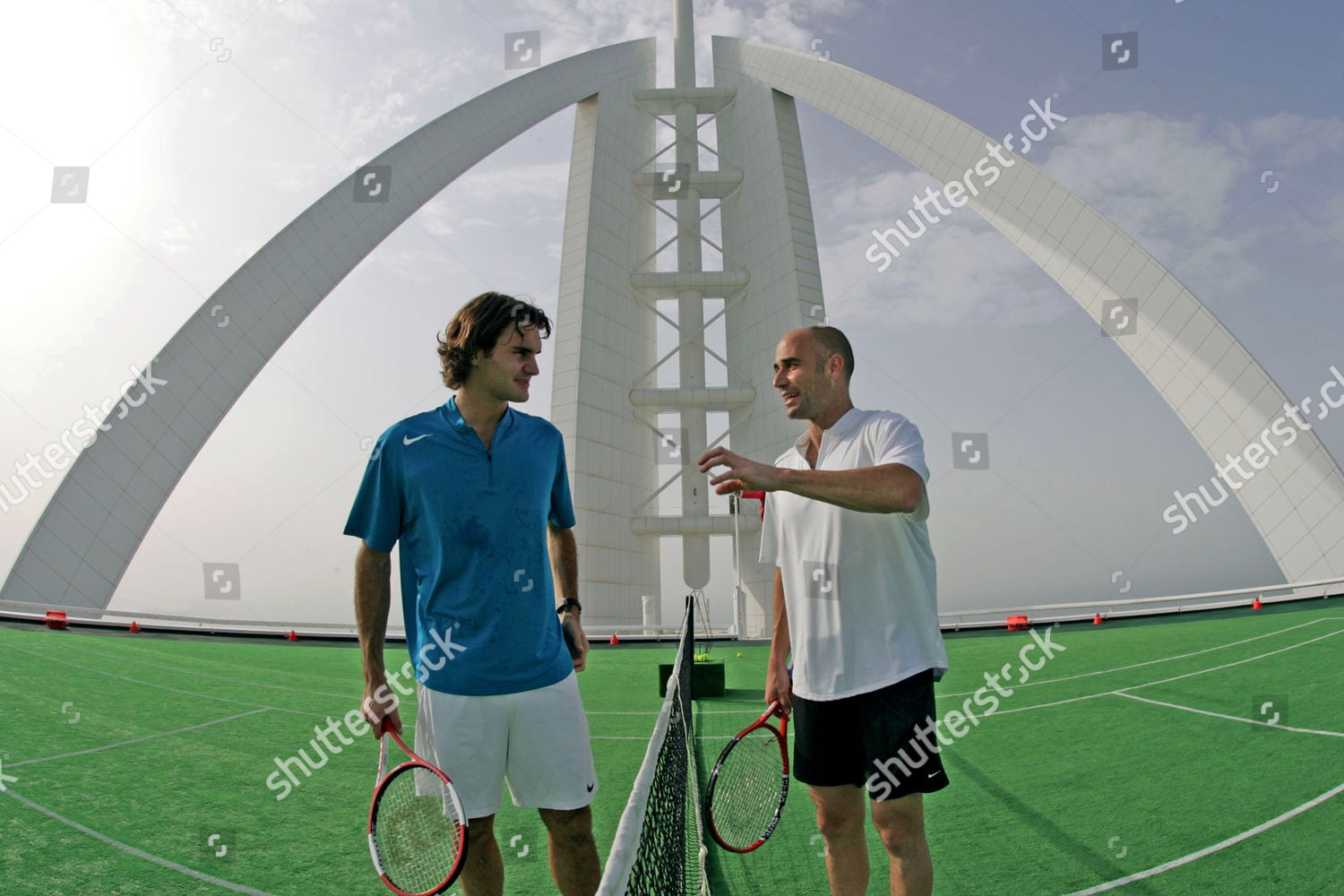 Roger Federer Andre Agassi Court Laid Overtop Editorial Stock Photo