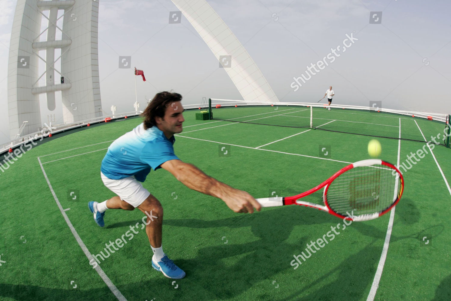 Roger Federer Court Laid Overtop Helicopter Pad Stock Photo 514135e