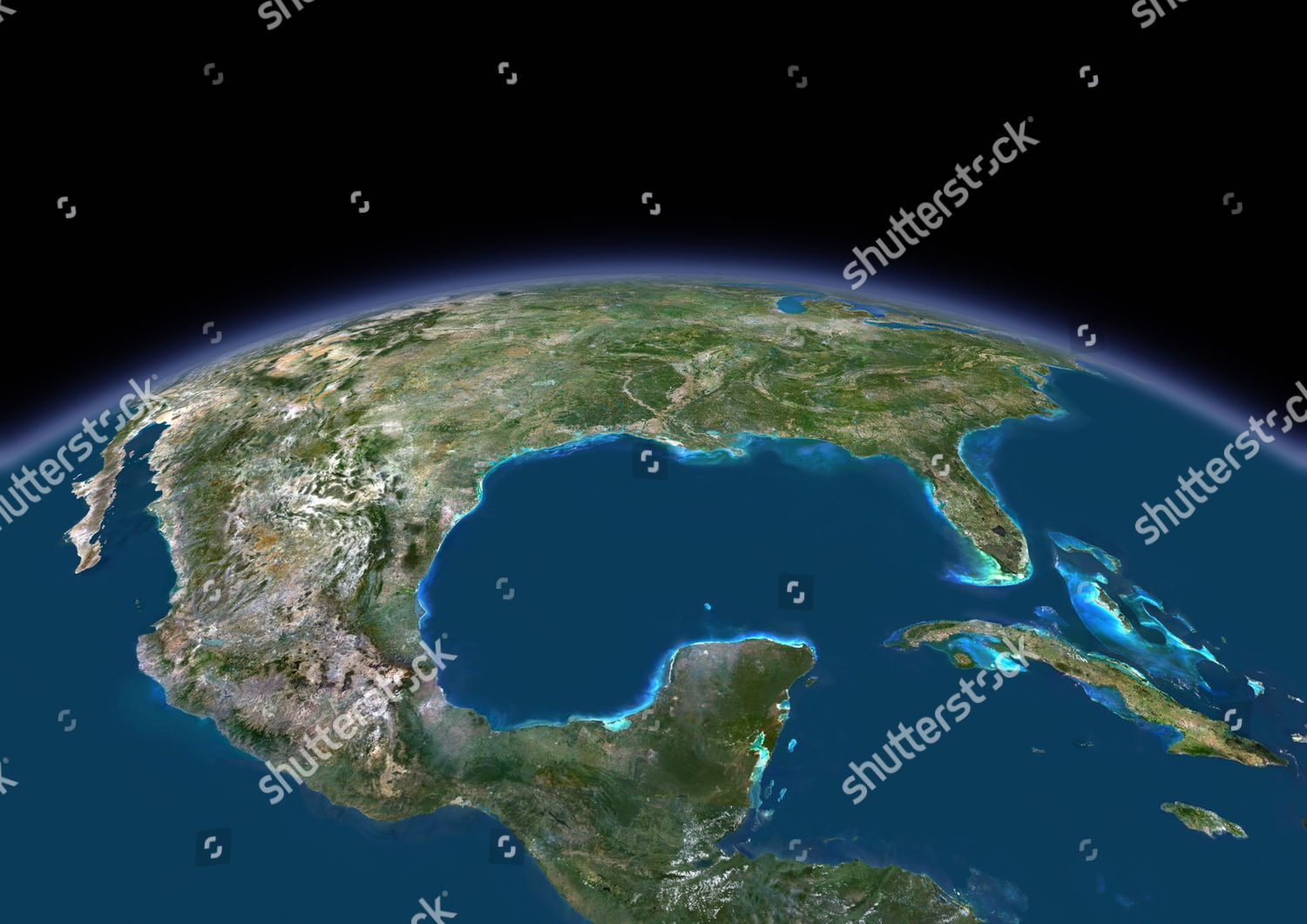 3D satellite image Gulf Mexico Editorial Stock Photo - Stock ... on