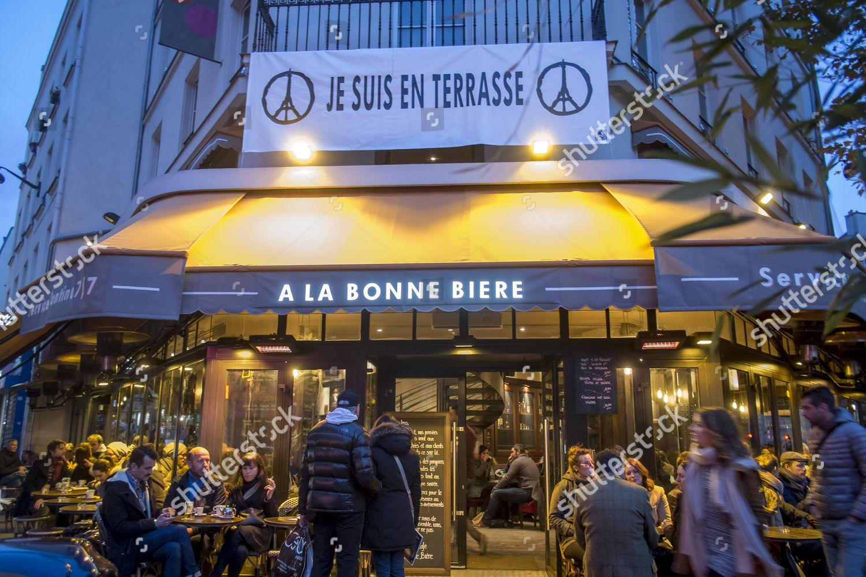 Je Suis En Terrasse a la bonne biere reopens following paris editorial stock