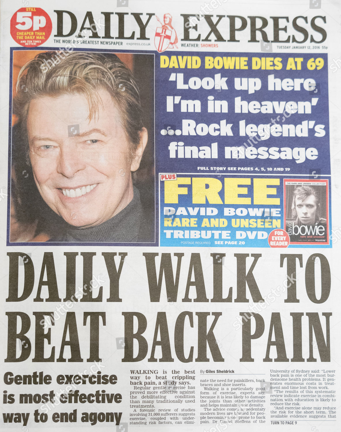 Daily Express newspaper front page following death Editorial