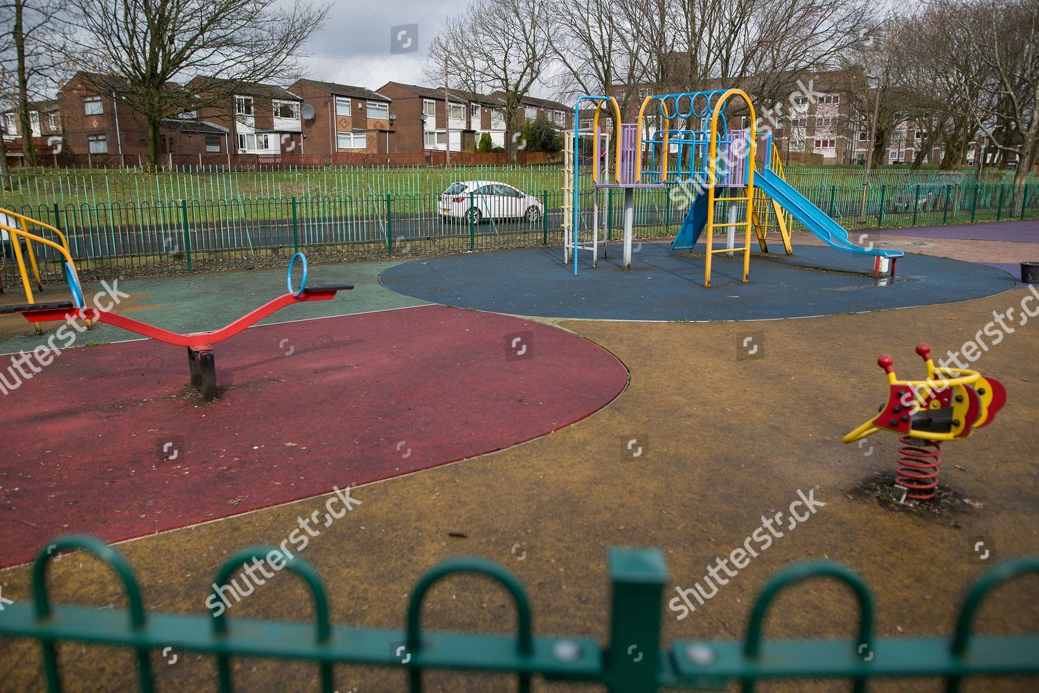 In Britains Playgrounds Bringing In >> Scene Thomasson Park Playground Halliwell Area Bolton Editorial