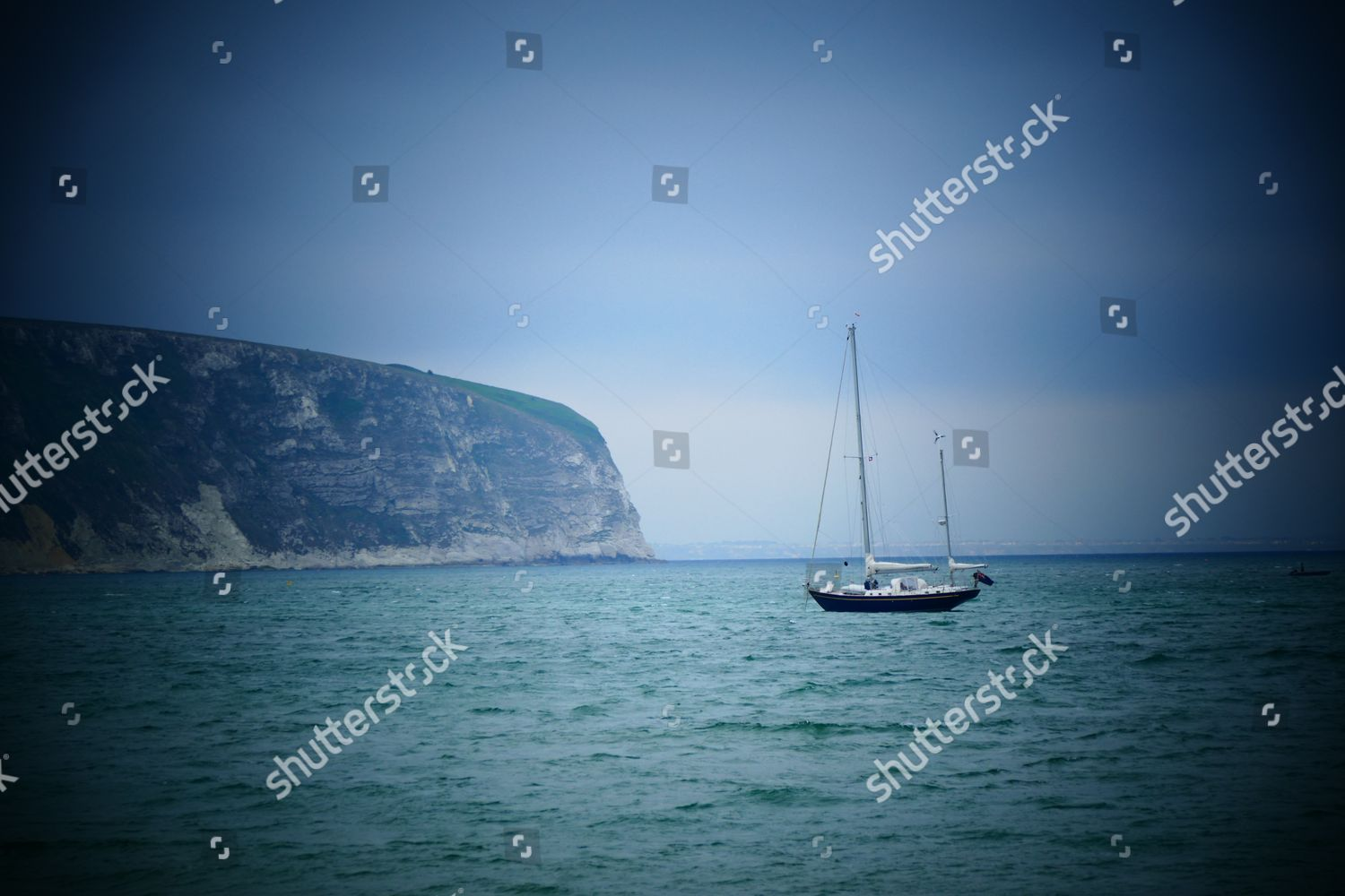 ship anchors Swanage Bay Ballard Down backdrop Editorial