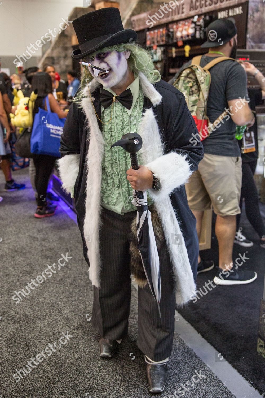 Batman Penguin Cosplay During Comiccon Comiccon International Stock