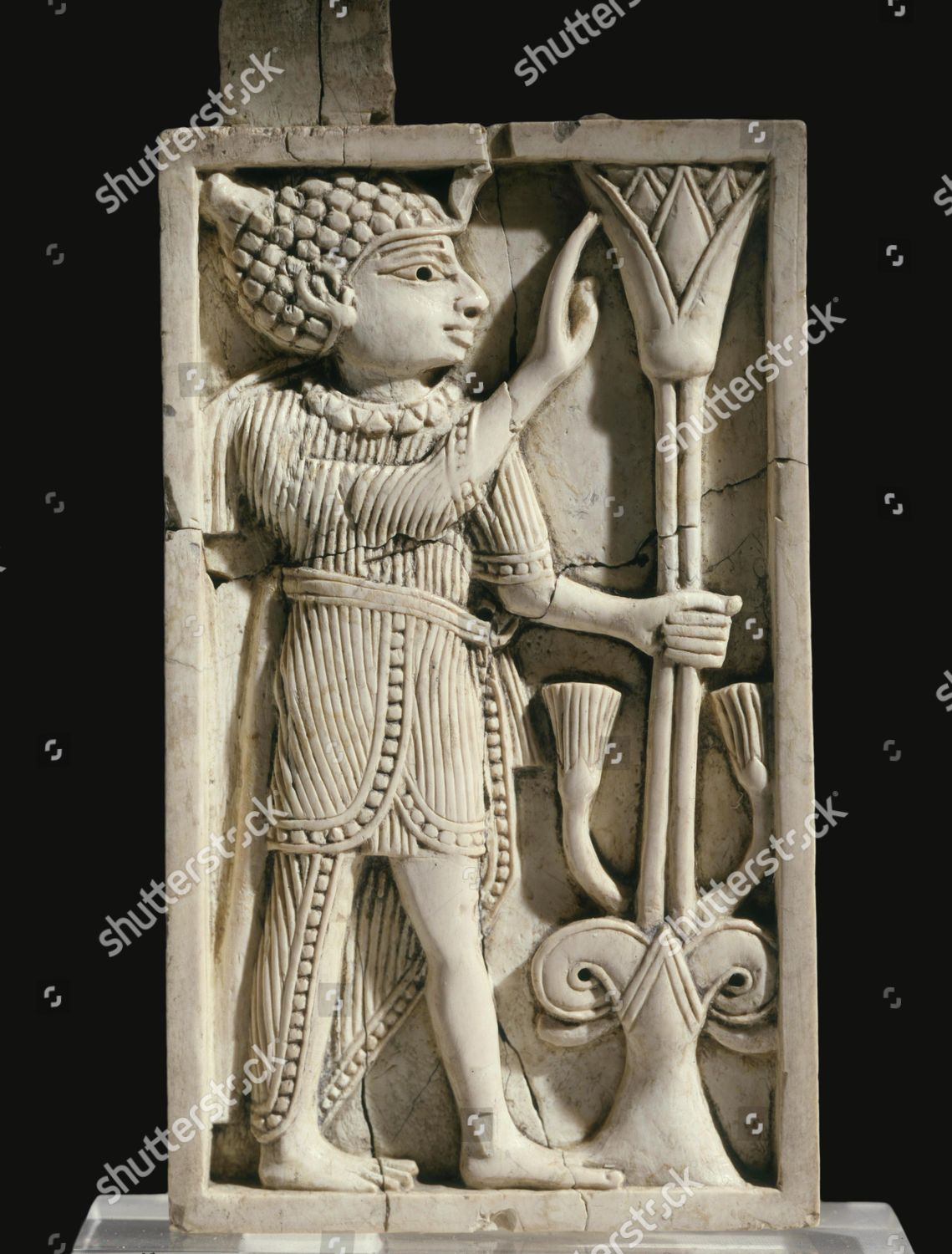 Ivory Plaque Figure Lotus Flower 8th Century Editorial Stock Photo