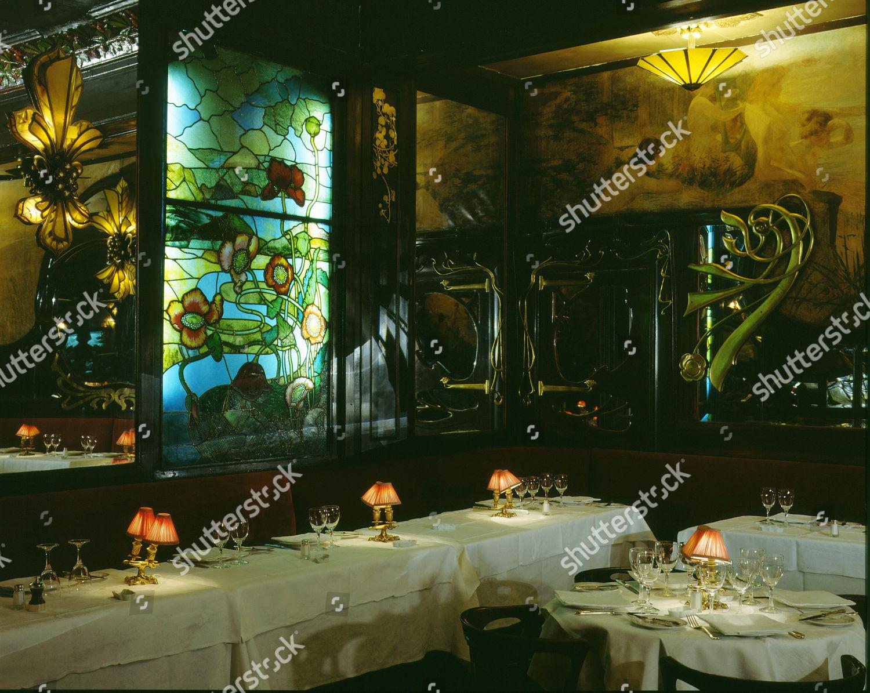 interior maxims restaurant paris art nouveau stained editorial stock