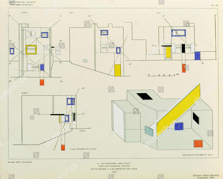 Design Plans House Amsterdam By De Stijl Editorial Stock