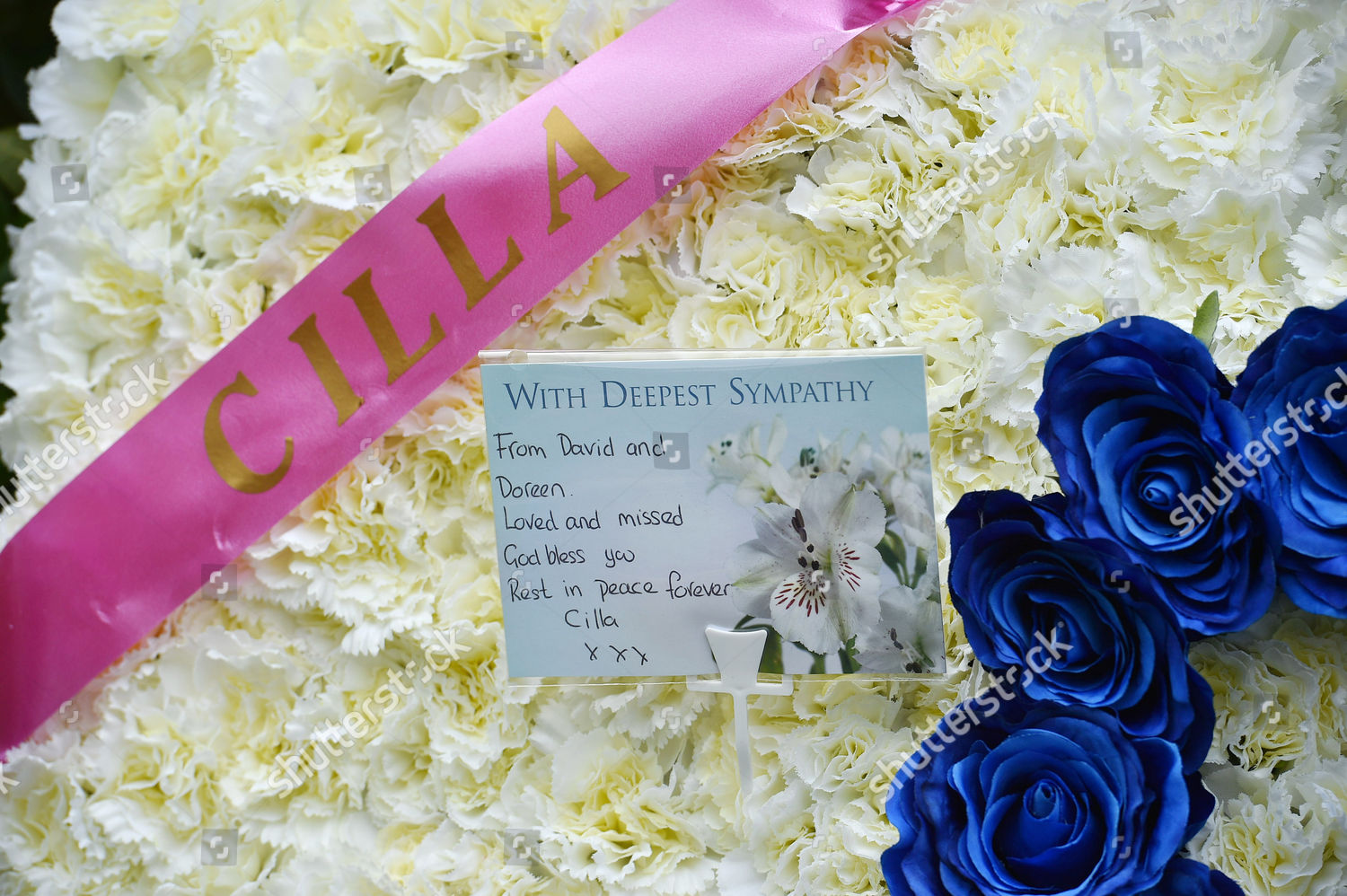 Cilla Black Funeral Floral Tributes Stmary Rc Editorial Stock Photo